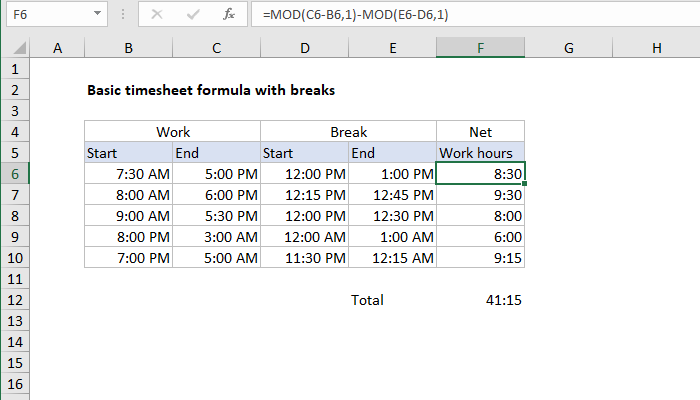 Self Calculating Timesheet Excel Template from exceljet.net