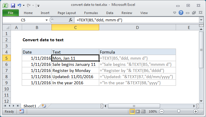 Excel Formula Convert Date To Text