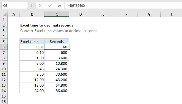 Excel Formula Convert Excel Time To Decimal Seconds Exceljet