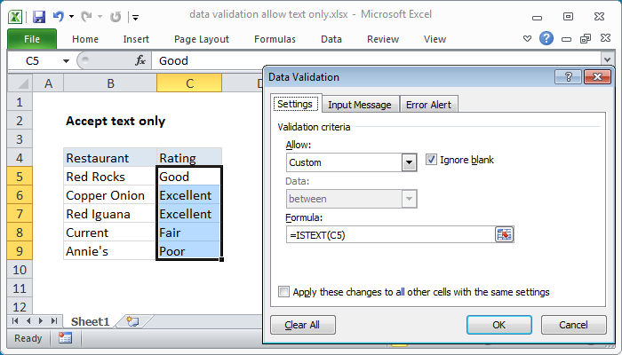 Excel formula: Data validation allow text only
