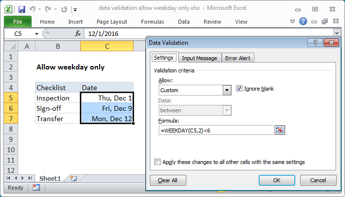 Excel formula: Data validation allow weekday only