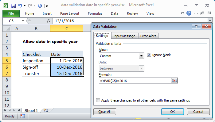 Excel formula: Data validation date in specific year
