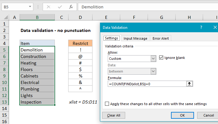 Excel formula: Data validation no punctuation