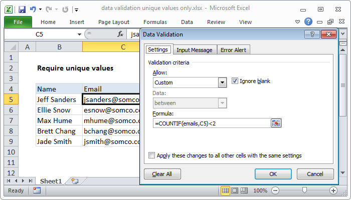 Excel formula: Data validation unique values only