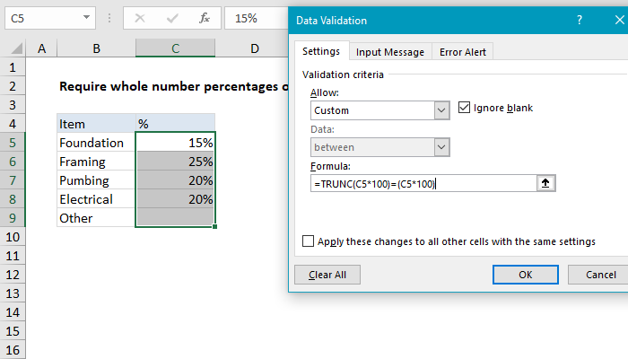 Excel formula: Data validation whole percentage only