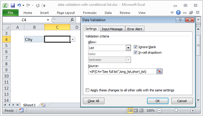 Excel formula: Data validation with conditional list
