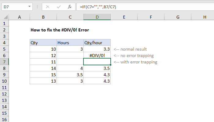 Excel Formula How To Fix The Div 0 Error Exceljet