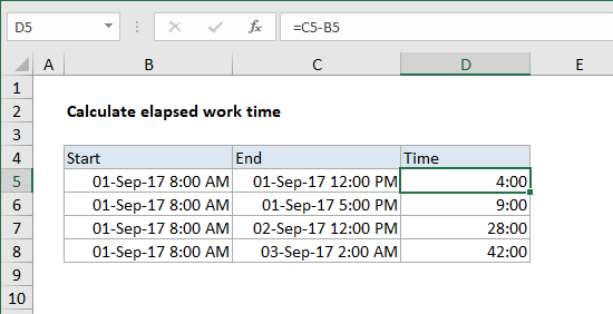 Excel formula: Calculate number of hours between two times