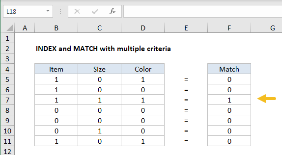 INDEX and MATCH with multiple criteria - array visualization