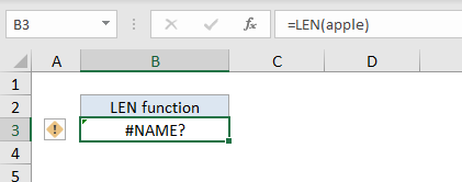 #NAME error text string entered without quotes