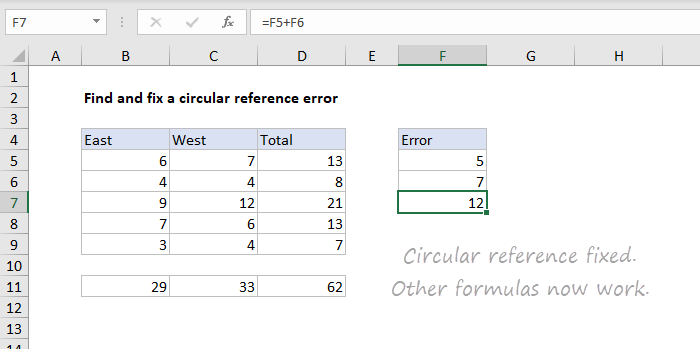 Circular reference fixed, formulas show correct results again