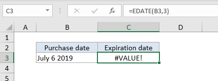 #VALUE! error example - date stored as text