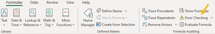 Error checking menu on Formulas tab of ribbon