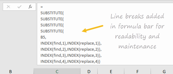 Line breaks added in formula bar for readability and maintenance