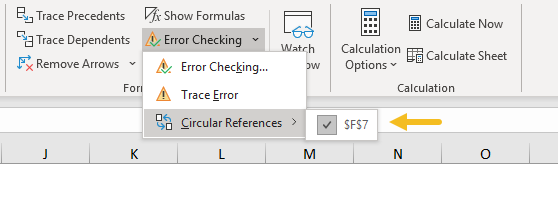 Show circular references in error checking menu