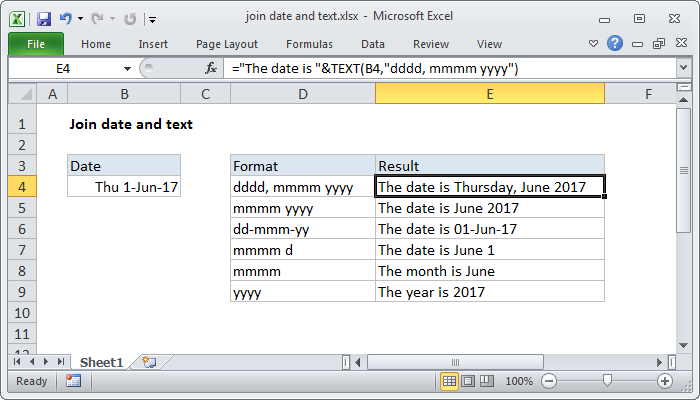 Excel formula: Join date and text | Exceljet