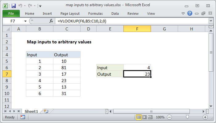 Excel formula: <b>Map</b> inputs to arbitrary values | Exceljet