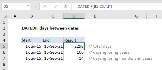 DATEDIF difference in days