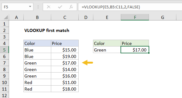 VLOOKUP returns first match