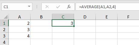AVERAGE function with cell references and constants