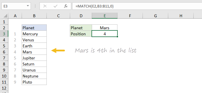Basic exact match with MATCH function