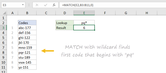 Basic wildcard match with MATCH function