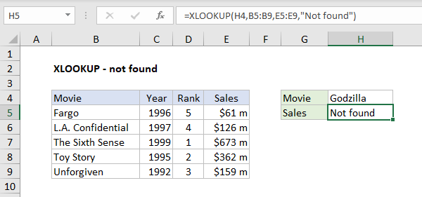 XLOOKUP - not found example