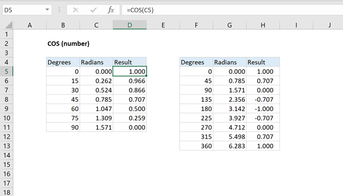 How To Use The Excel Cos Function Exceljet