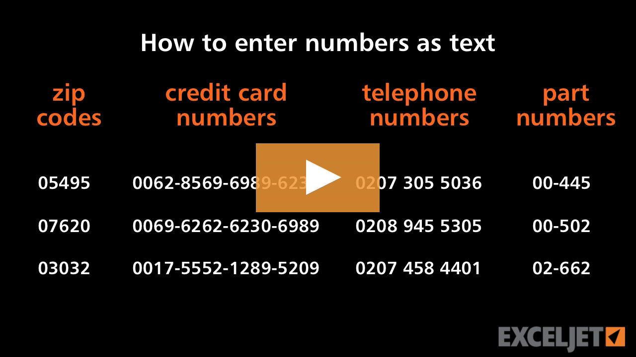 Excel tutorial How to enter numbers as text in Excel