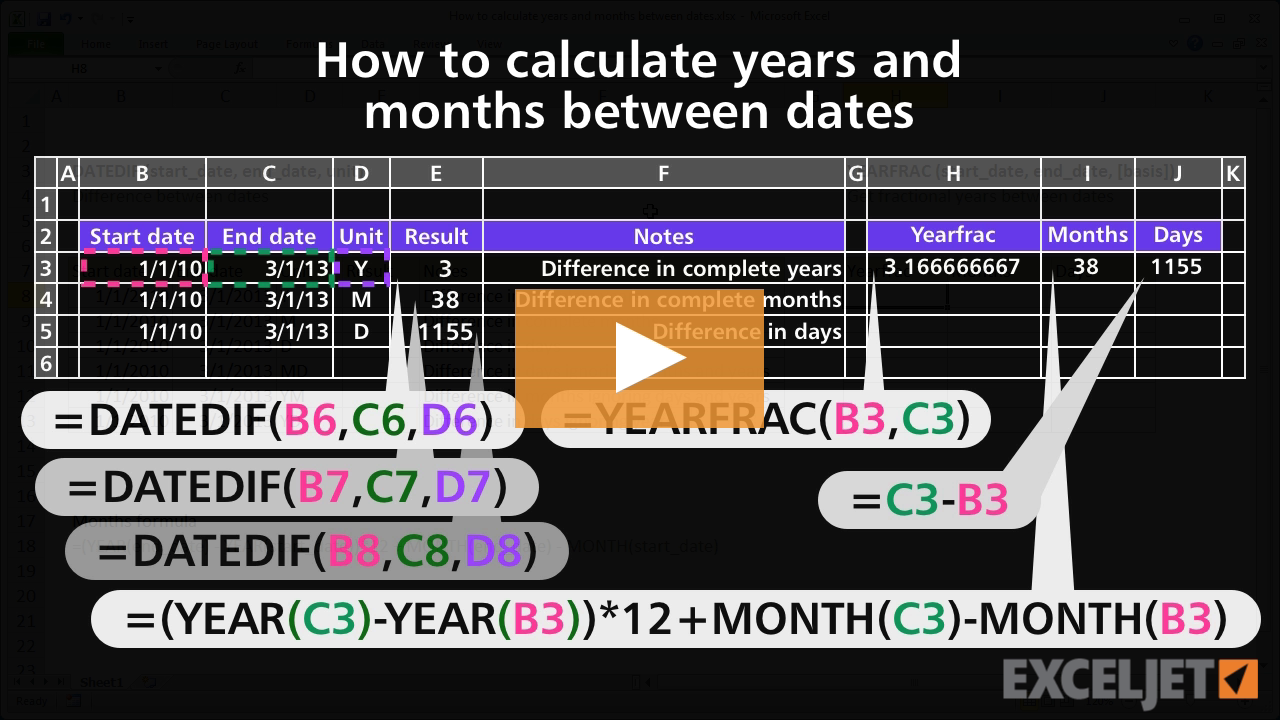How to calculate years and months between dates