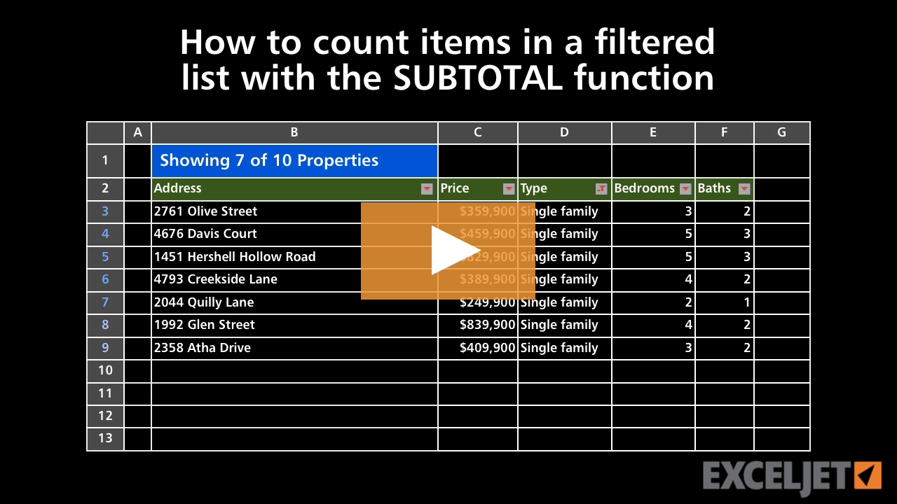 Excel tutorial How to count items in a filtered list