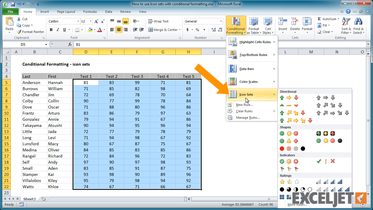 From the video: How to use Icon sets with conditional formatting