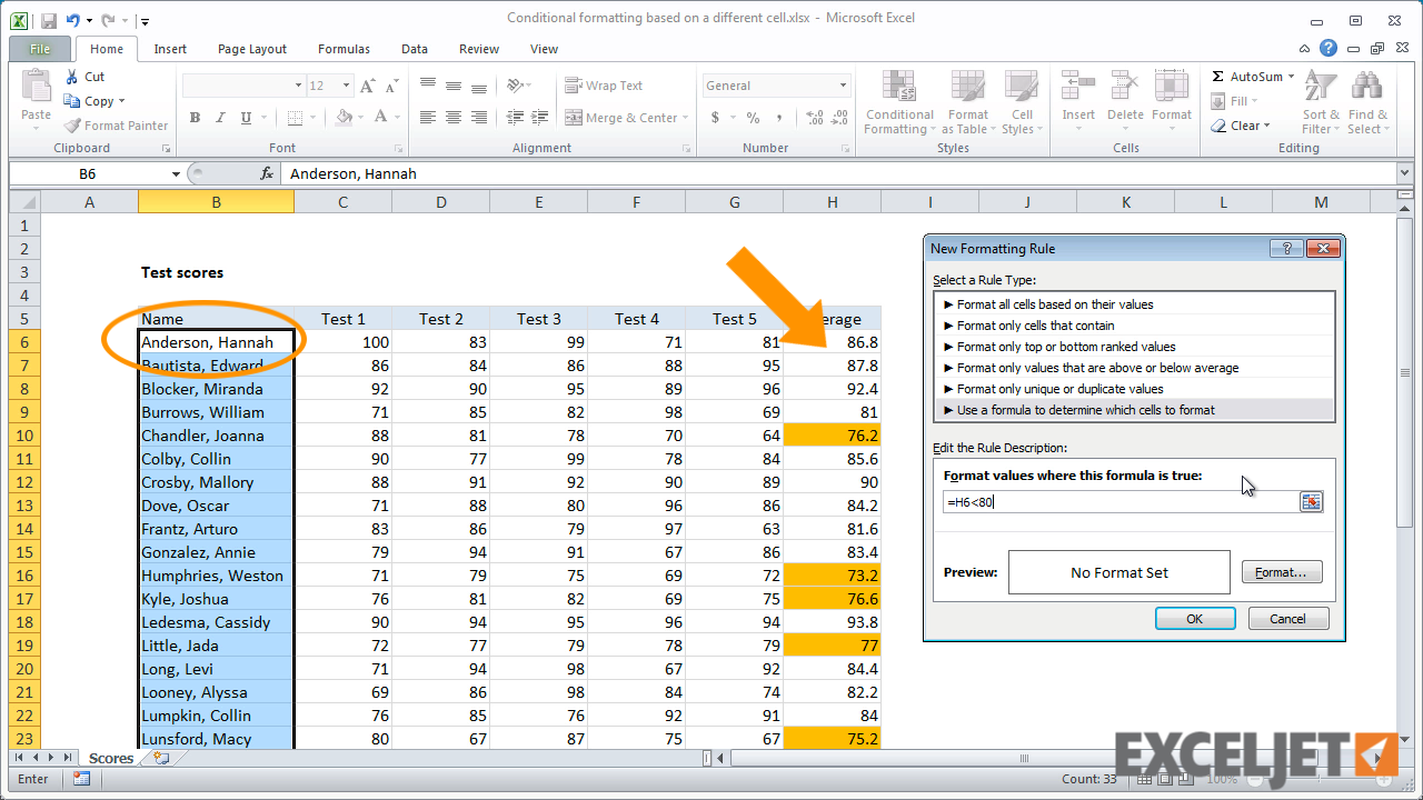 excel tutorial conditional formatting based on a different cell