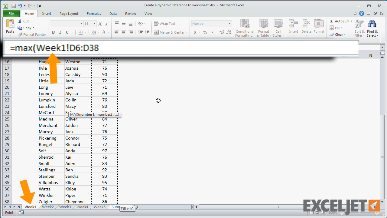 Excel Tutorial Create A Dynamic Reference To A Worksheet