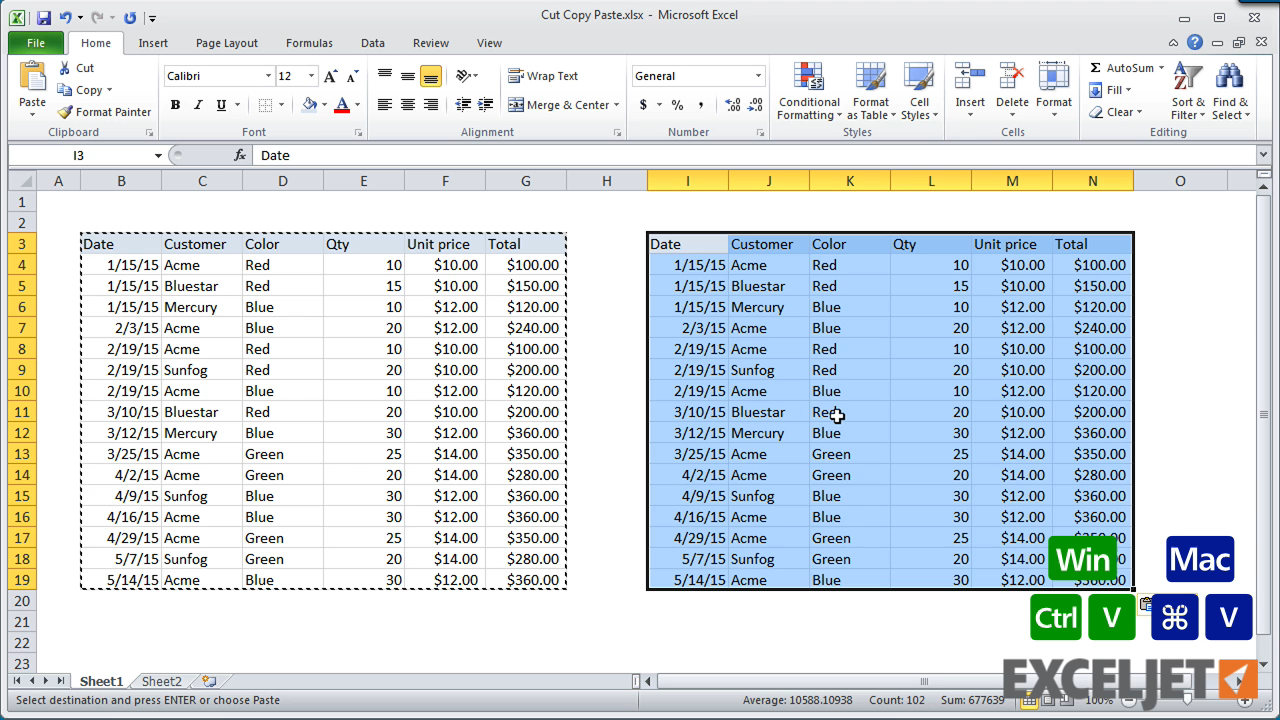 Excel tutorial shortcuts to cut copy paste from the video shortcuts to cut copy paste biocorpaavc Image collections
