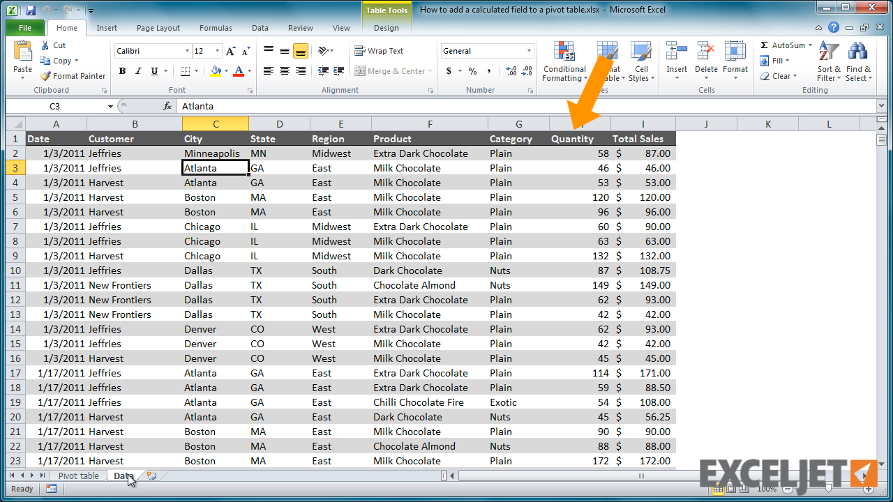 Excel tutorial how to add a calculated field to a pivot table - How to add a column in a table ...