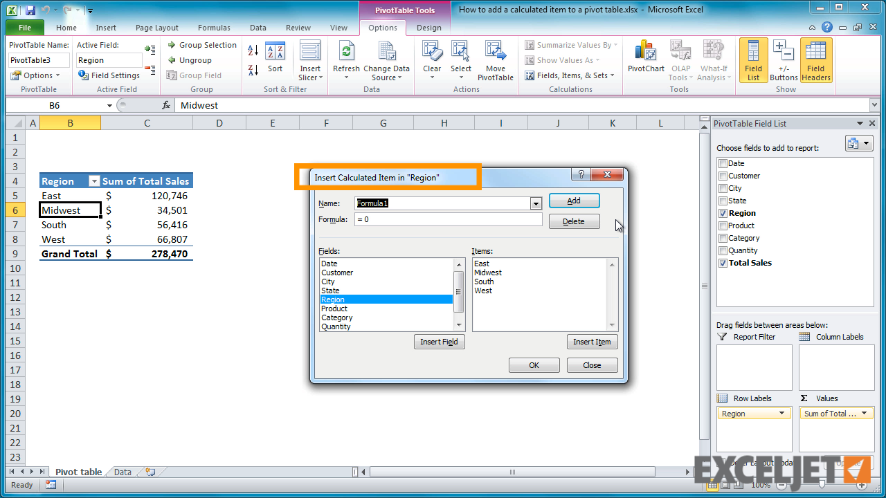 From The Video: How To Add A Calculated Item To A Pivot Table