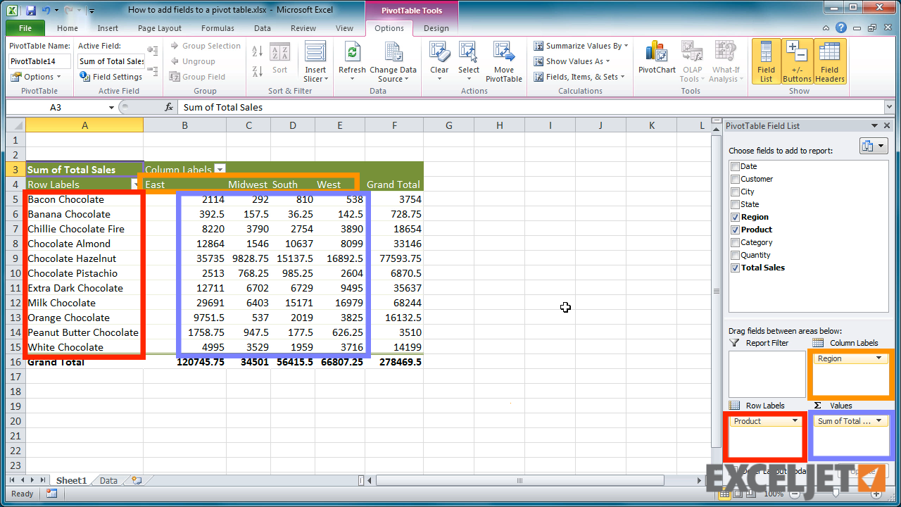 Excel tutorial how to add fields to a pivot table for Table design tab excel