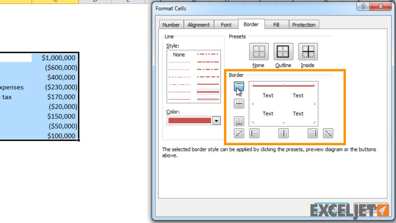 From the video How to apply a border to cells in Excel  sc 1 st  Exceljet : set table border color - pezcame.com