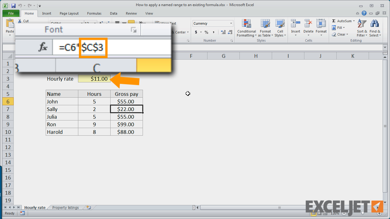 From The Video: How To Apply A Named Range To An Existing Formula Excel  Tutorial