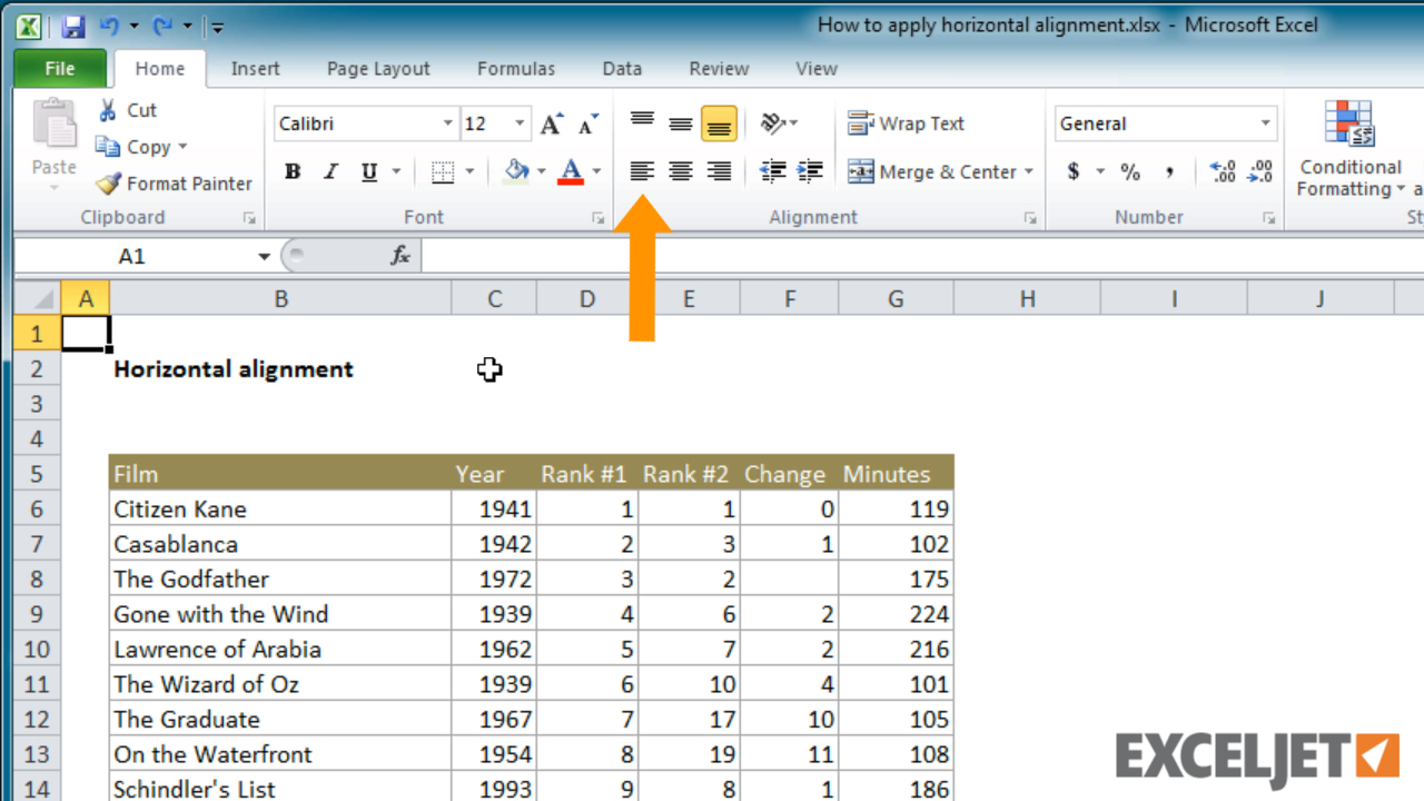 Access Text Vertical Alignment : Excel tutorial how to apply horizontal alignment in