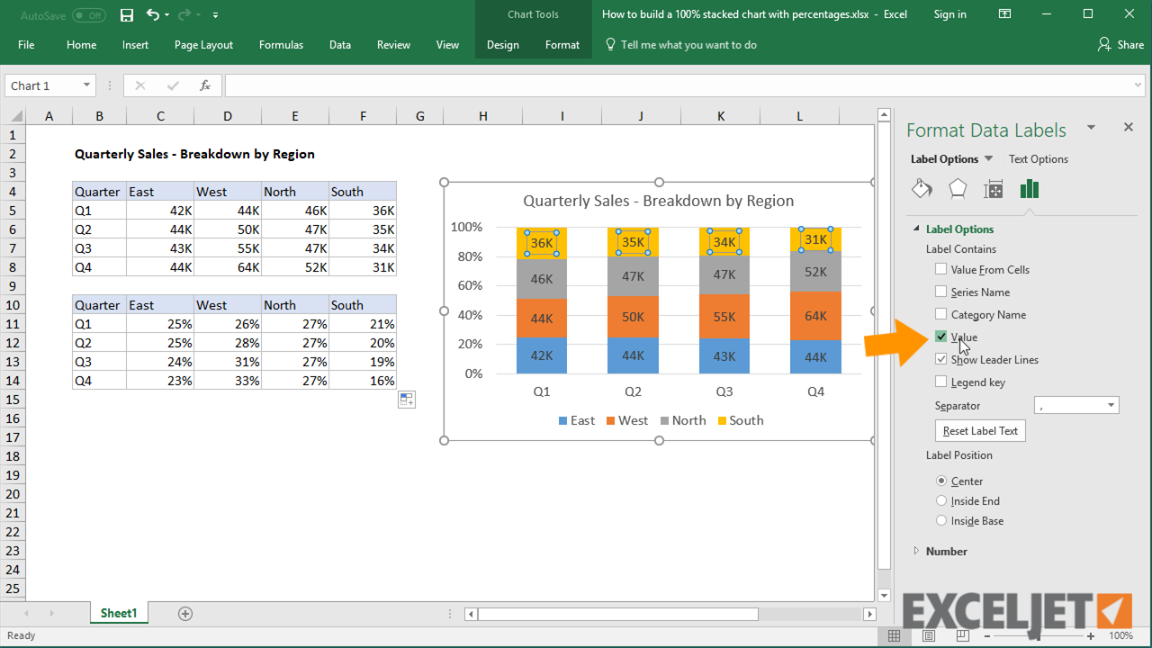 Excel Tutorial How To Build A 100 Stacked Chart With Percentages