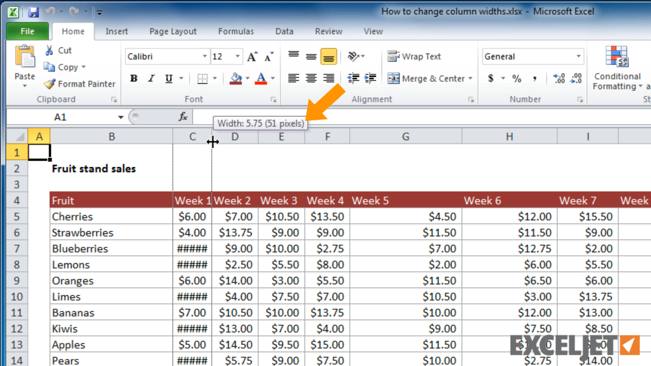 Excel tutorial how to change column widths in excel for Table column width