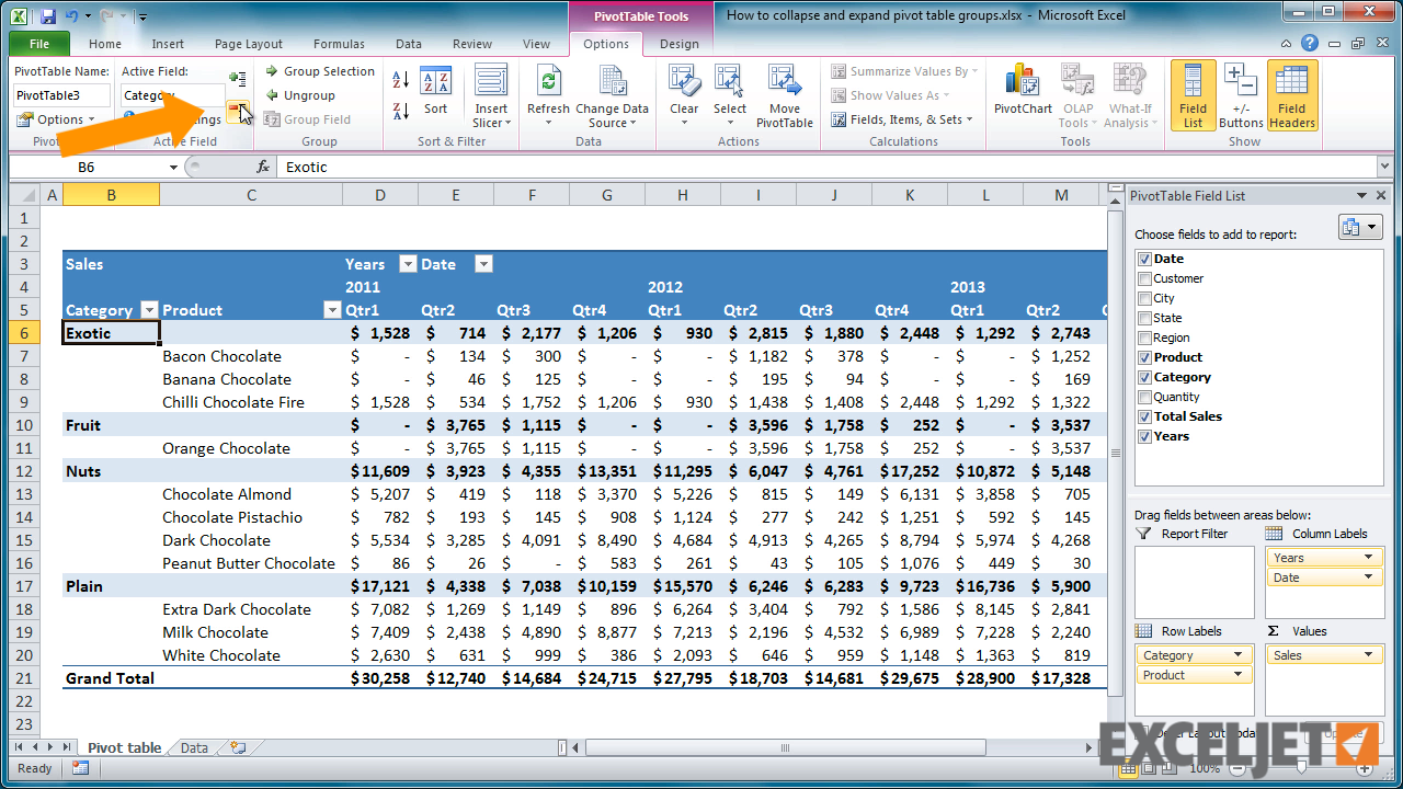 excel tutorial how to collapse and expand pivot table groups