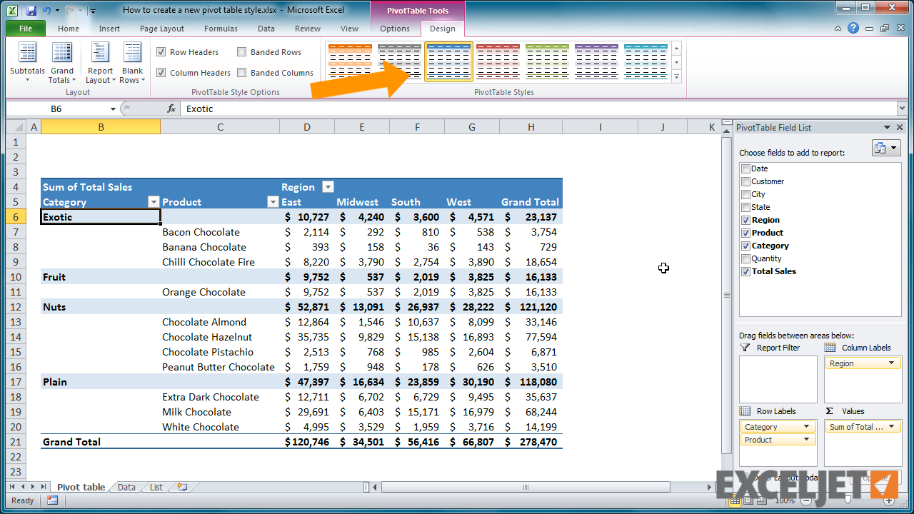 From the video: How to create a new pivot table style