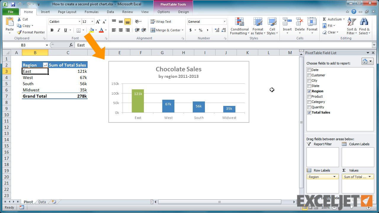 Excel tutorial how to create a second pivot chart from the video how to create a second pivot chart nvjuhfo Images