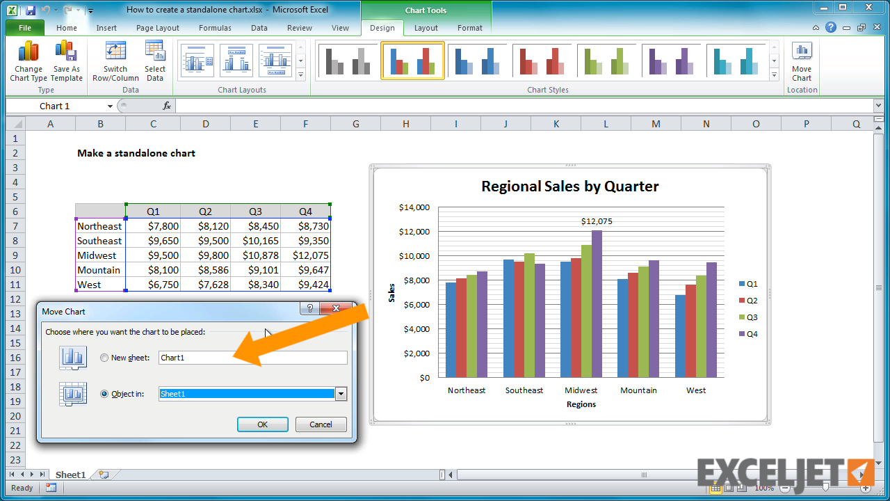 Excel tutorial: How to create a standalone chart