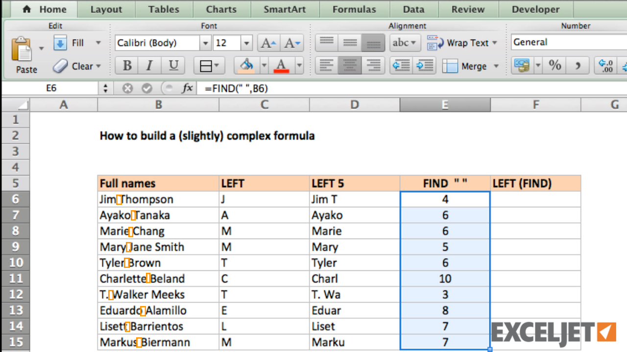 how to write excel formulas