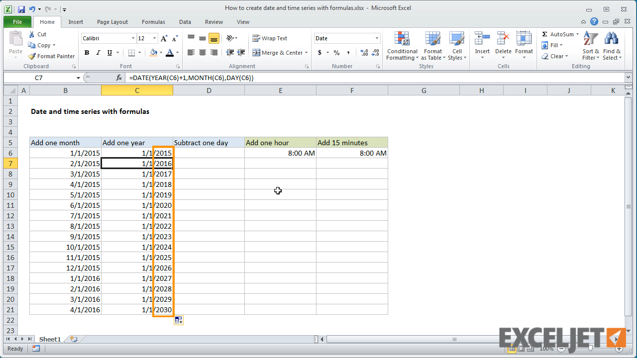 excel tutorial  how to create date and time series with
