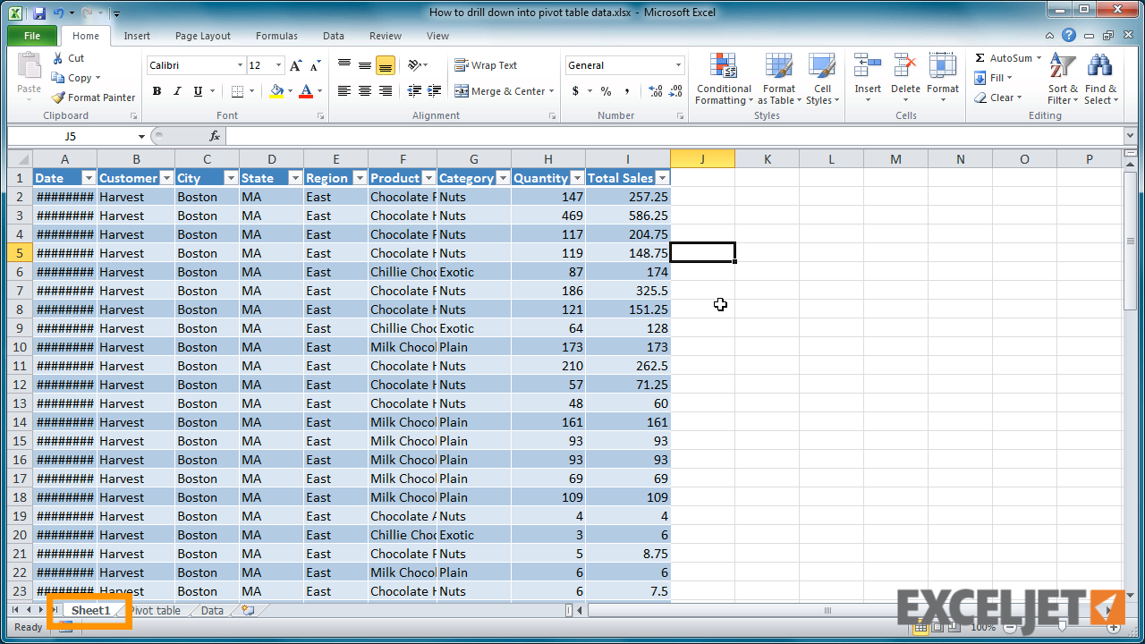 Excel Tutorial How To Drill Down Into A Pivot Table
